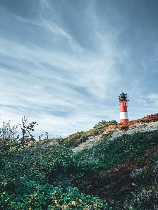 Lighthouse, Island, Meadow, Sylt, North Sea, Coast