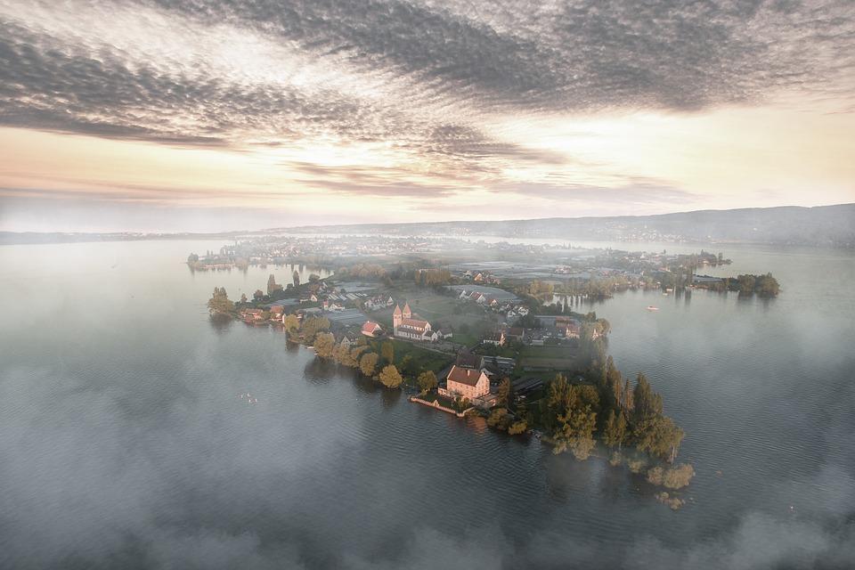 Island, Fog, Water, Ocean, Sky, Clouds, Sunrise, Nature