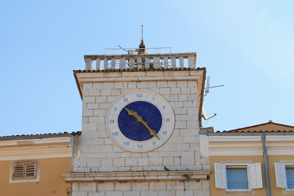 Tower, Croatia, Clock, Blue, Cres, Island Of Cres