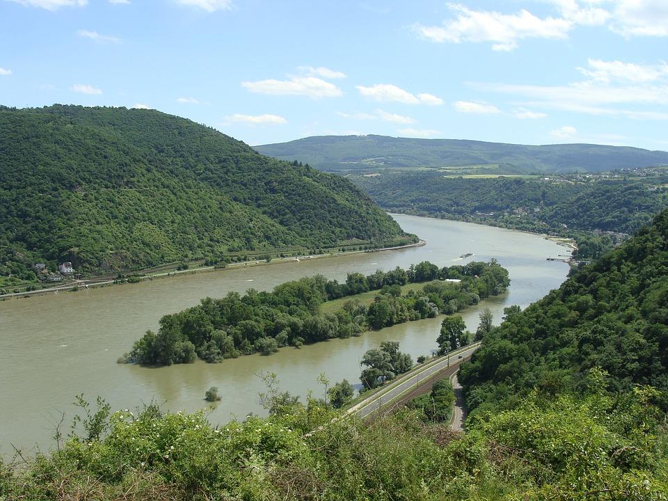 Bacharacher Werth, Rhine Valley, River, Island, Valley
