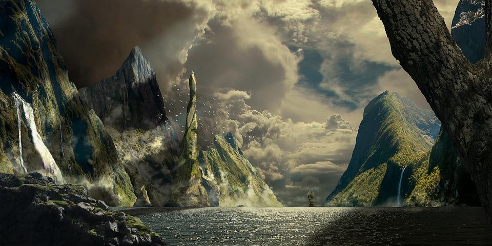 Island, Mountains, Fantasy, Ship, Landscape