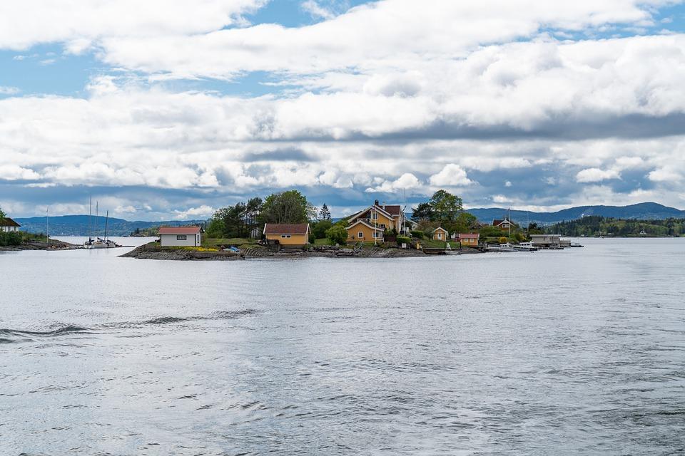 Island, Houses, Sea, Water, Norway