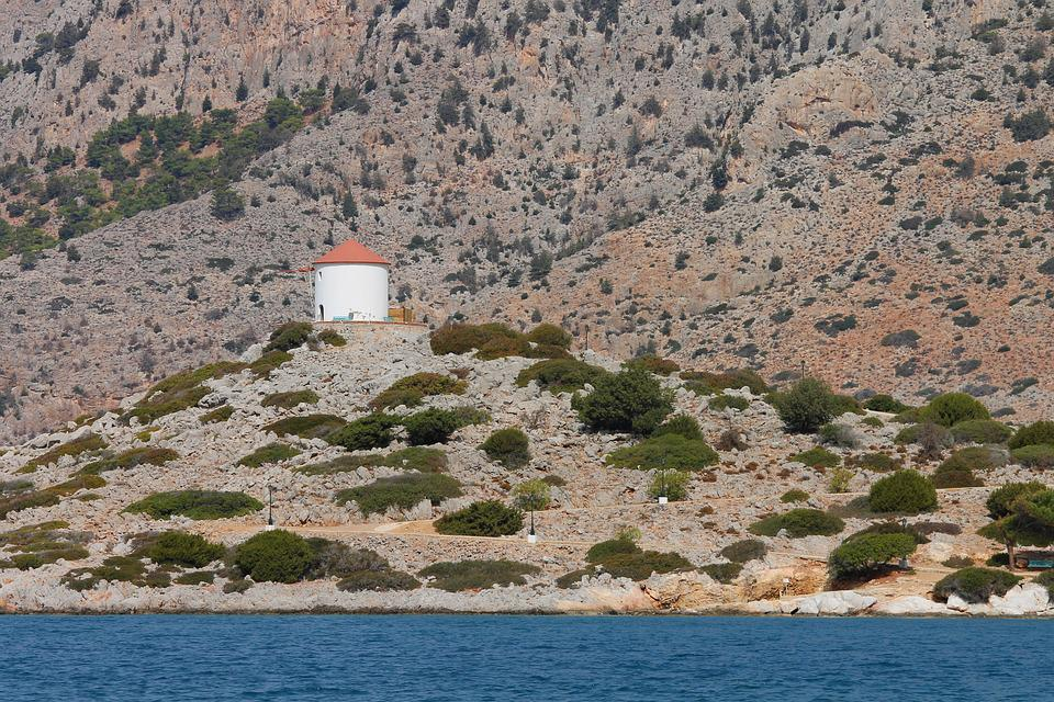 Windmill, Greece, Symi, Greek, Island, Coast, Rock