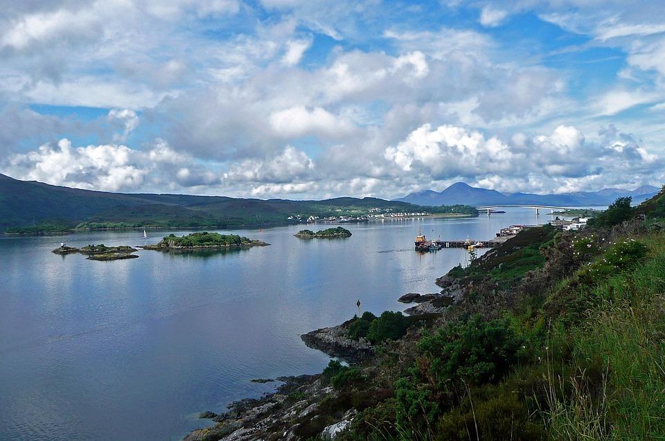 Lake, Scotland, Landscape, Islands, Blue, Clouded Sky