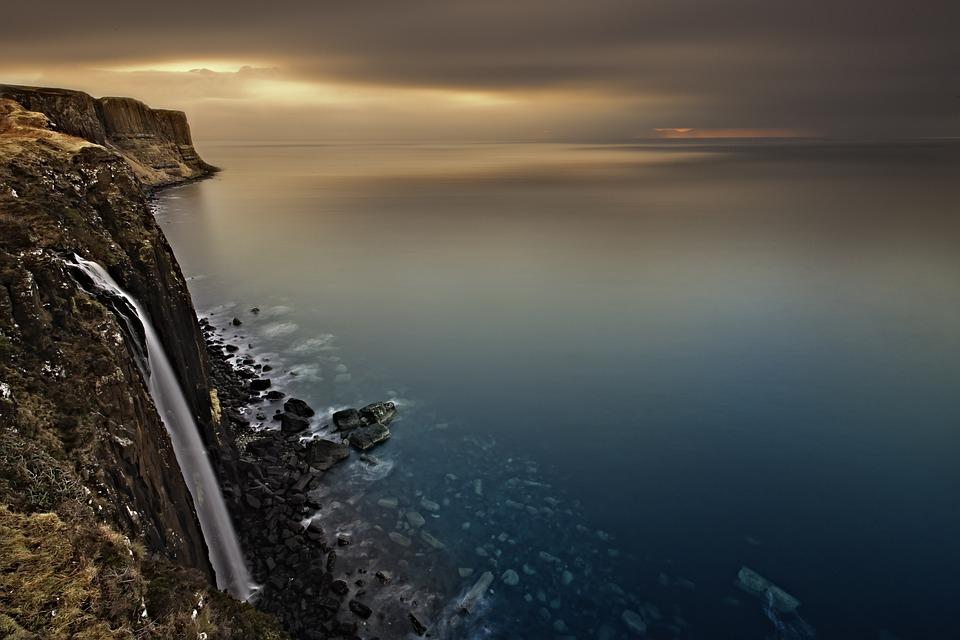 Waterfall, Scotland, Isle Of Skye, Lake, Sunset