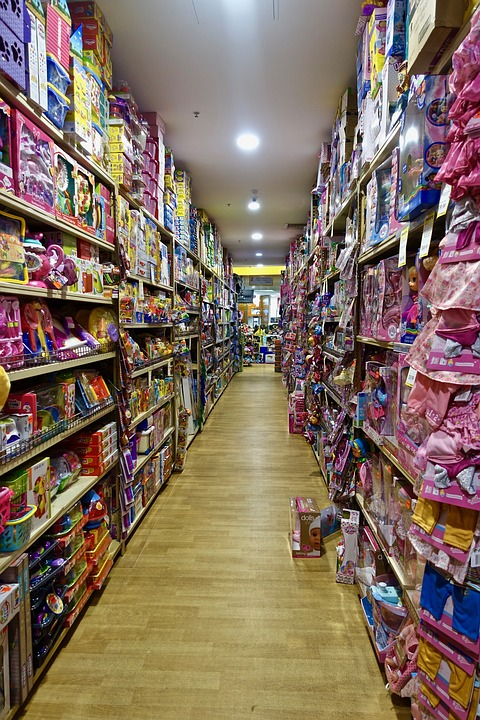 Isle, Shopping, Toys, Shelving, Goods, Products