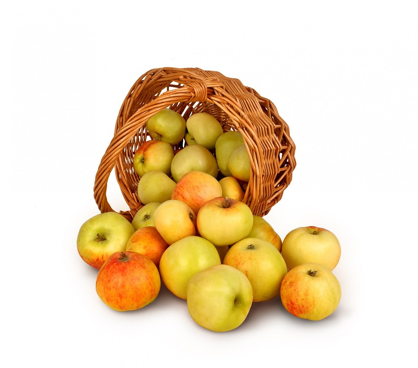 Apples, Basket, Isolated, Background, Crop, Fruit, Food