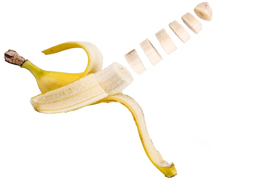 Banana, Slice, White, Cut, Close-up, Isolated