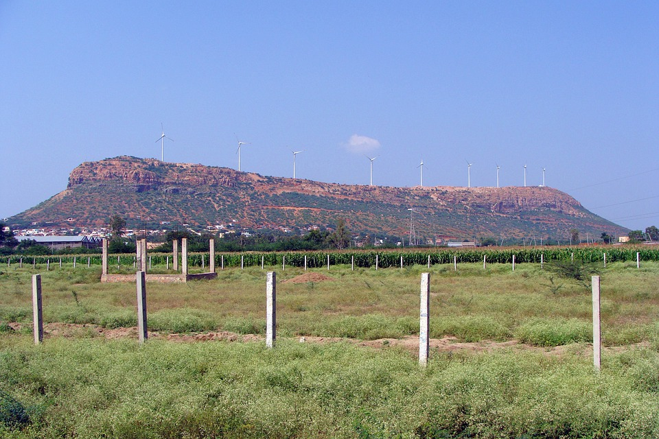 Hill, Isolated, Nargund Hill, Wind Turbine, Fields