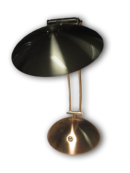 Lamp, Office, Isolated, Metal, Shiny, Table Lamp
