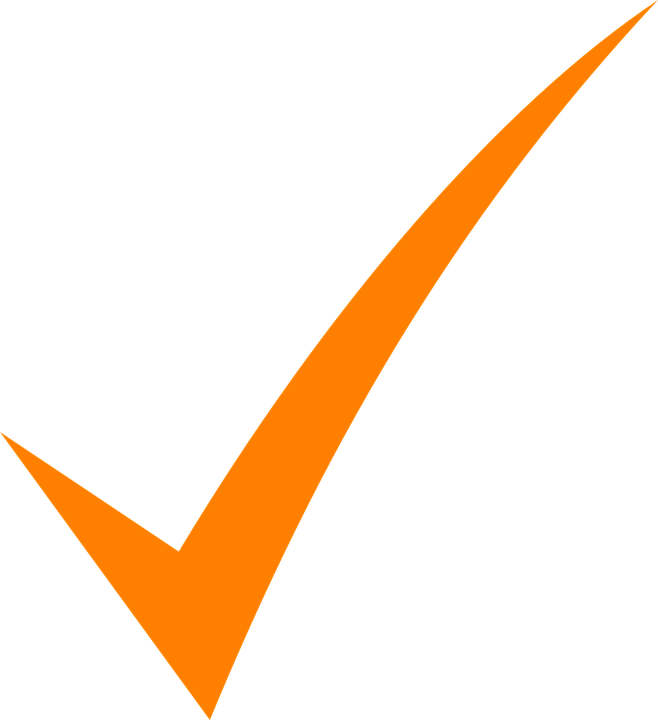 Check, Mark, Orange, Tick, Symbol, Icon, Sign, Isolated