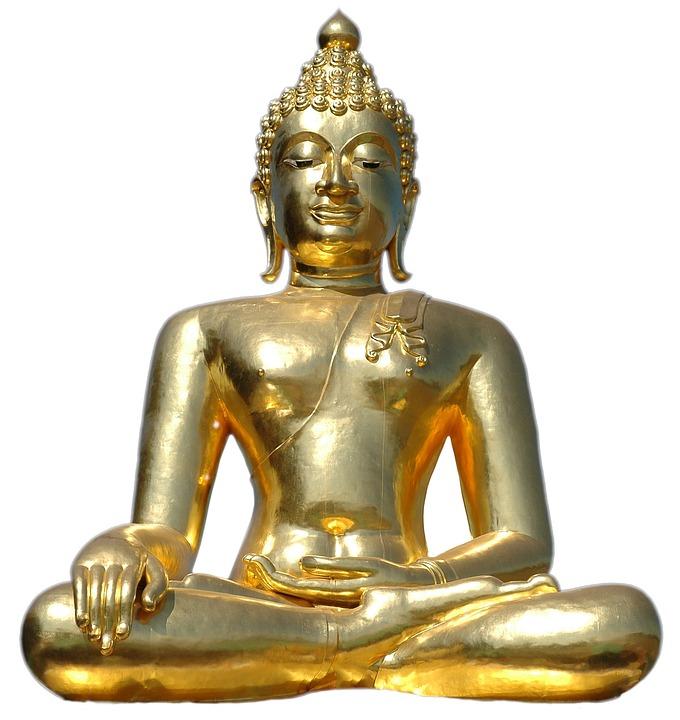 Golden Buddha, Sitting, Isolated