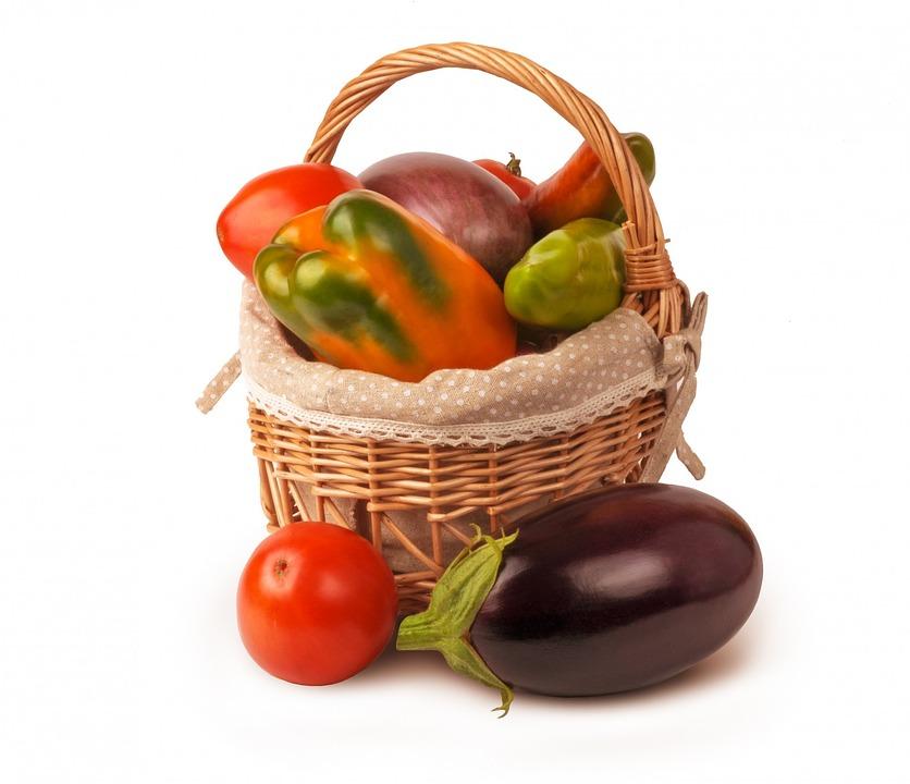 Isolated, Set, Vegetables, Basket, Eggplant, Pepper