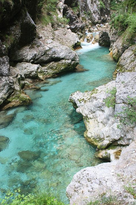 Slovenija, Soča, Isonzo, Korita Tolminska Region, River