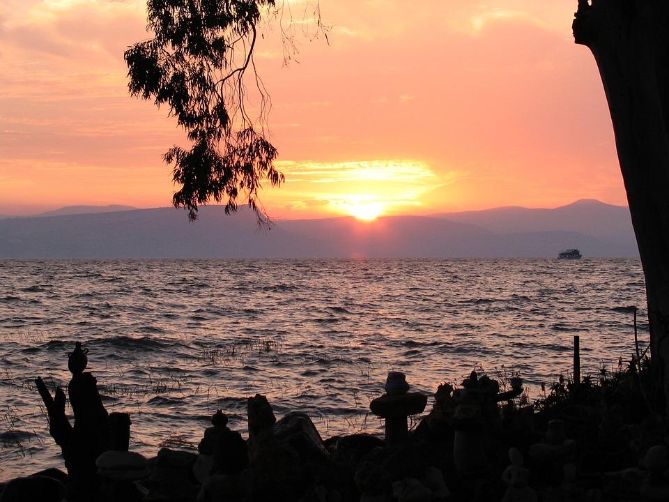 Israel, Sea Of Galilee, Sunset, Lake