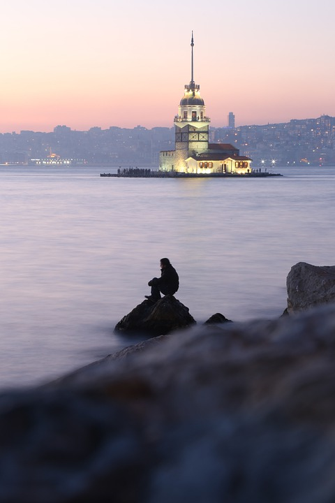 Istanbul, Tower, Person, Evening, View, Stone, Sunset