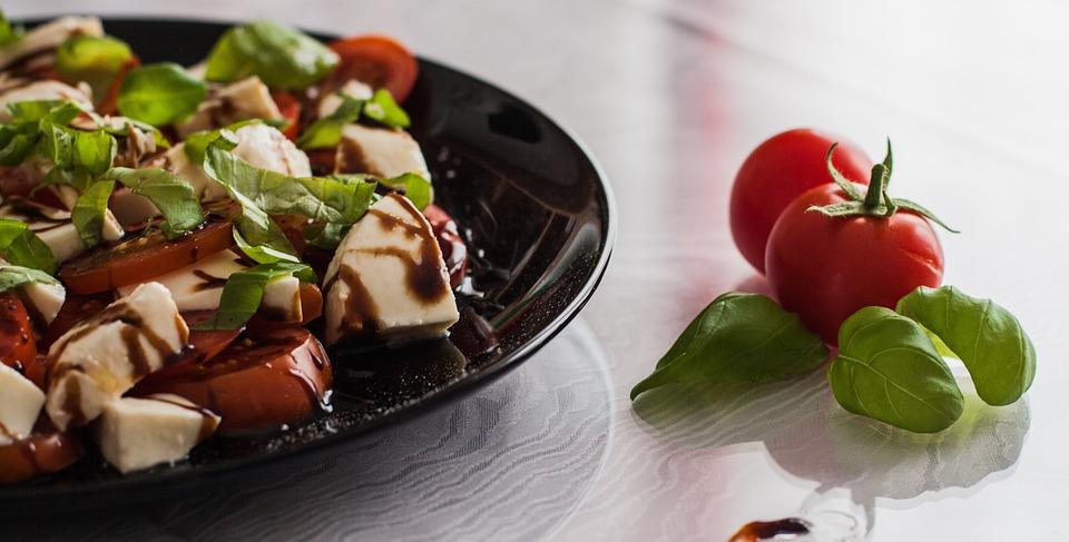 Tomato And Mozzarella Salad, Balsamic Vinegar, Italian