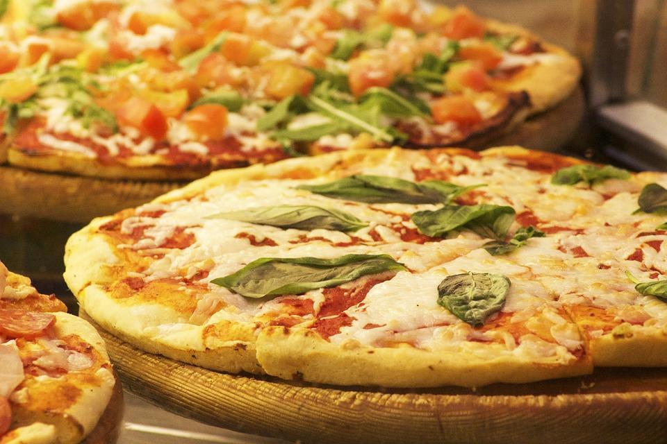 Pizza, Food, Italian, Cheese, Wooden, Board, Basil