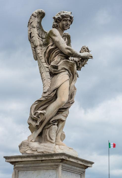 Angel, Statue, Stone, Bridge, Tiber, Rome, Italy