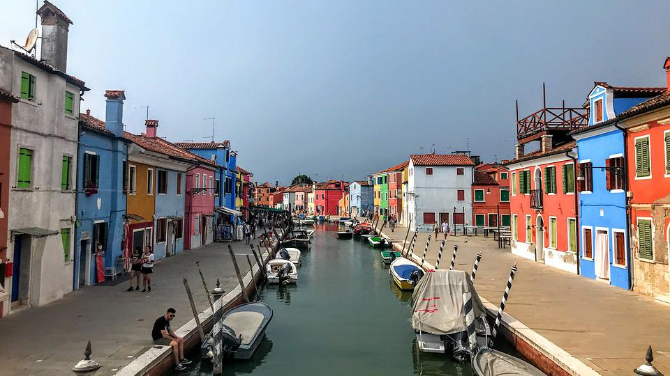 Canal, Italy, Burano, Water, Architecture, Boats
