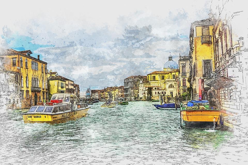 Venice, Italy, Gondola, Buildings, City, Architecture