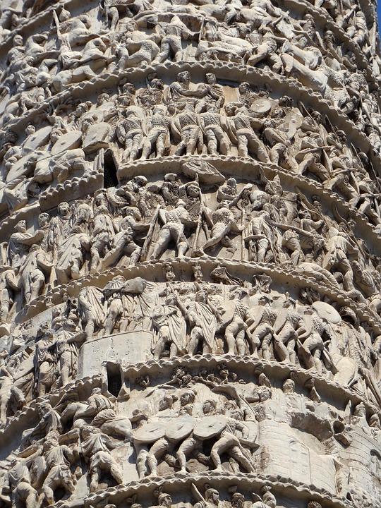 Rome, Italy, Column, Sculpture, Trajan's Column