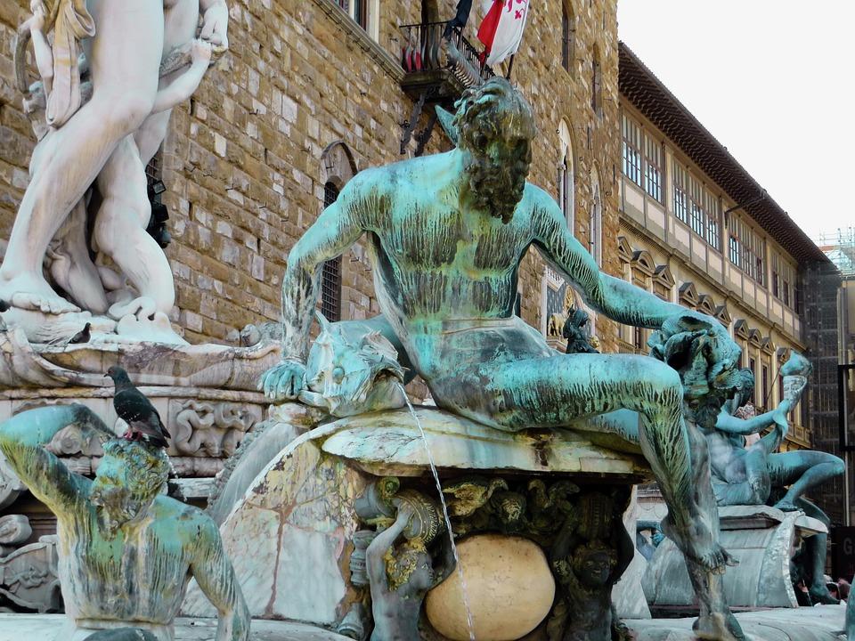 Italy, Florence, Fountain, Neptune, Bronze