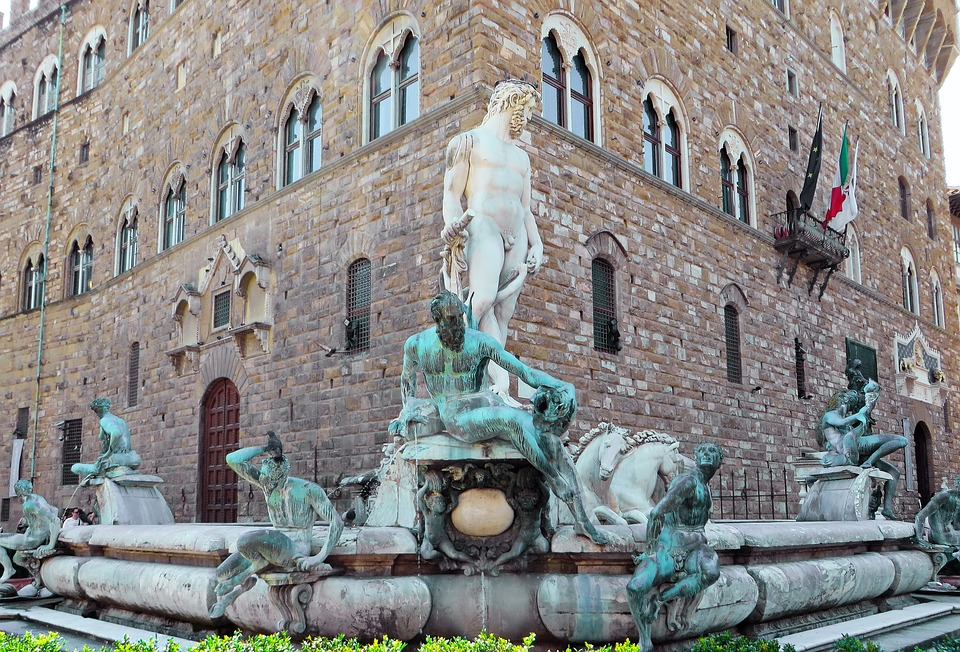 Italy, Tuscany, Florence, Fountain, Neptune, Pierre