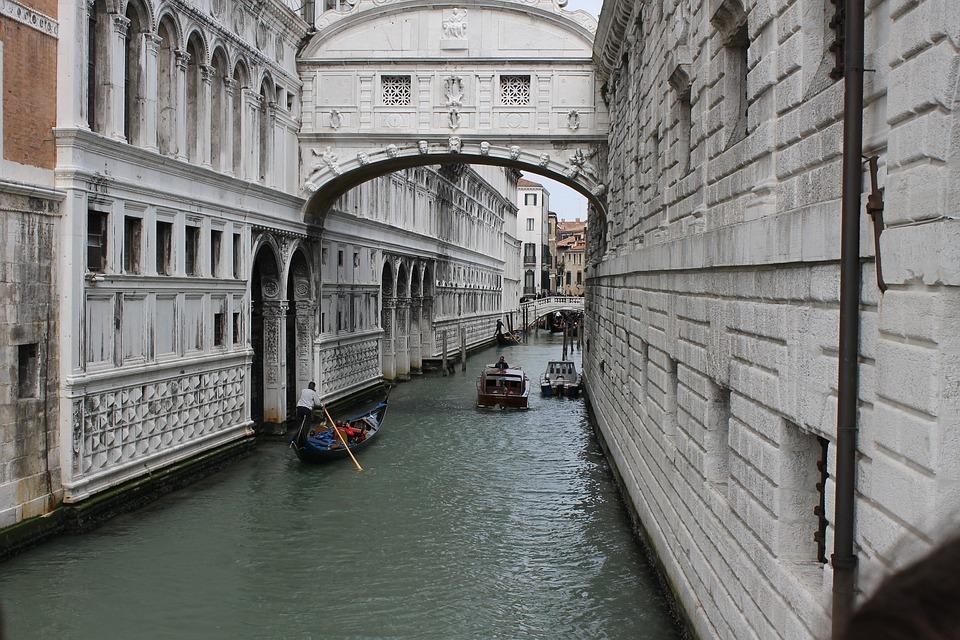 Venice, The Bridge Of Sighs, Channel, Gondola, Italy
