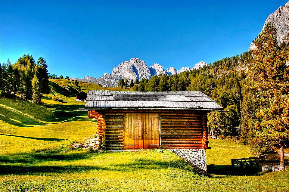 Hut, Dolomites, South Tyrol, Italy, Mountains, Alm