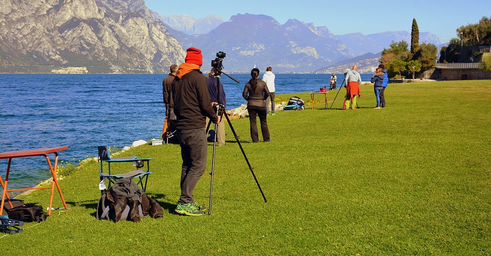 Photographer, Easel, Lake, Prato, Garda, Italy