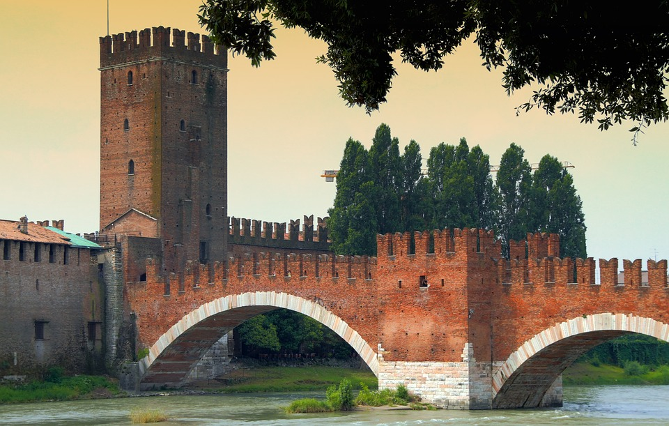 Tour, Arch, Brick, Medieval, Castle, Verona, Italy
