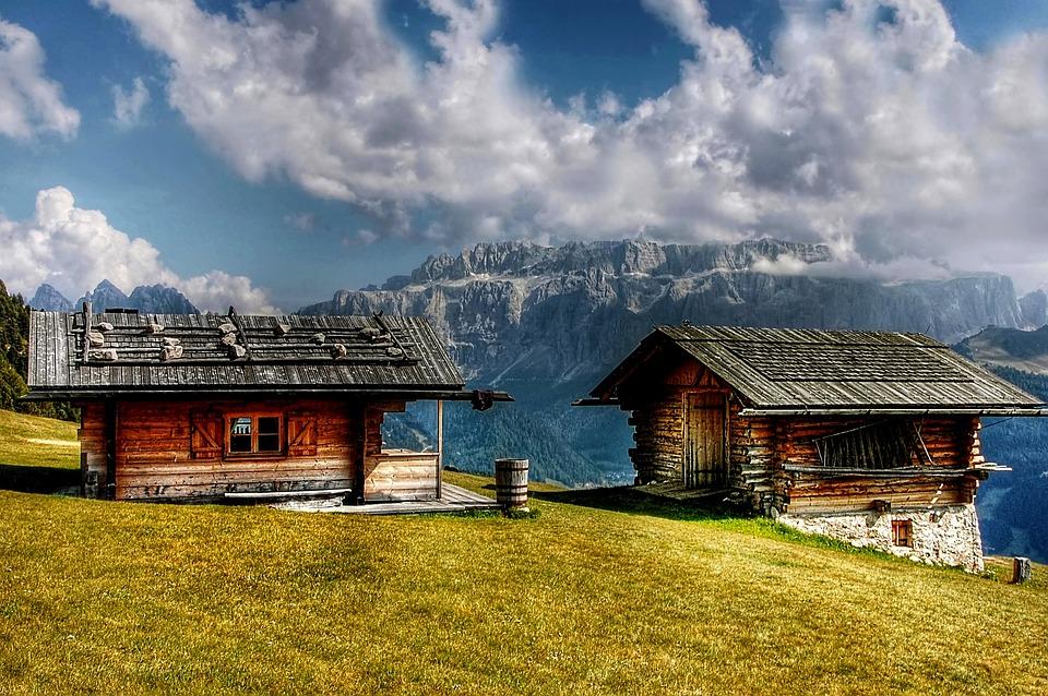Sella, Dolomites, Cottages, Mountains, Alpine, Italy