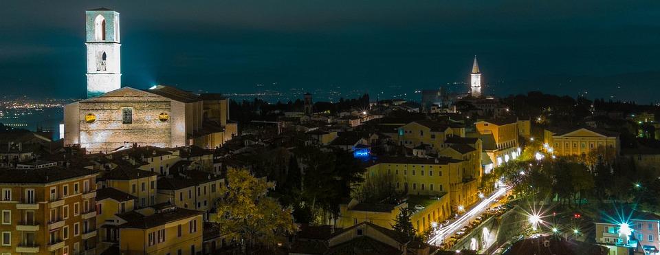Perugia, Night, Italy, Landscape, City