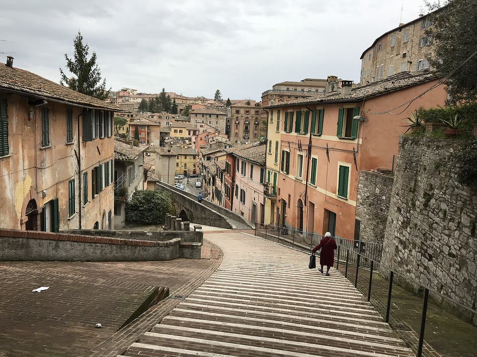 Perugia, Stairs, Umbria, Italy, Old, Path, Town