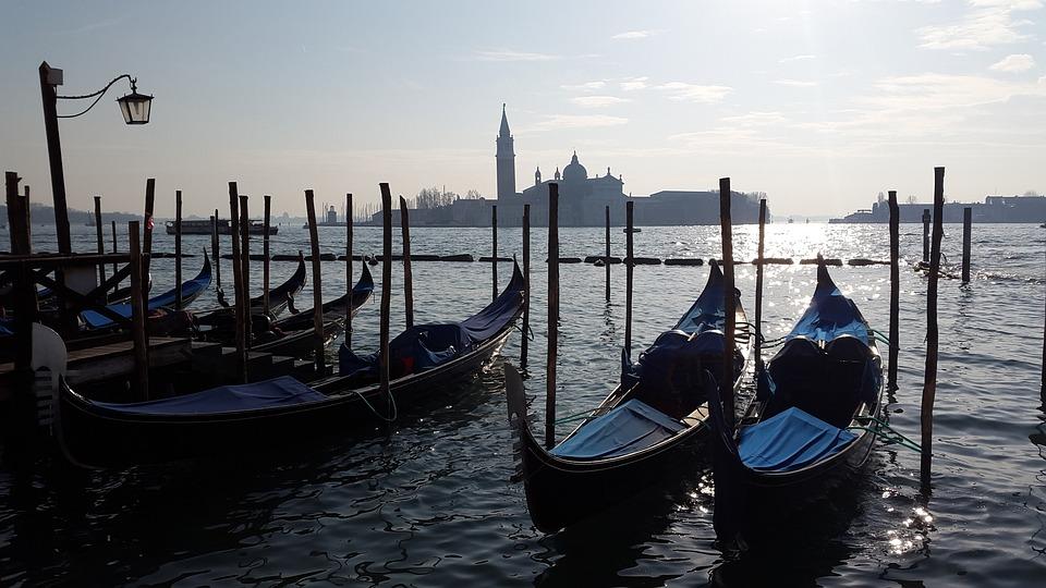 Venice, Gondolas, Water, Reflection, Italy