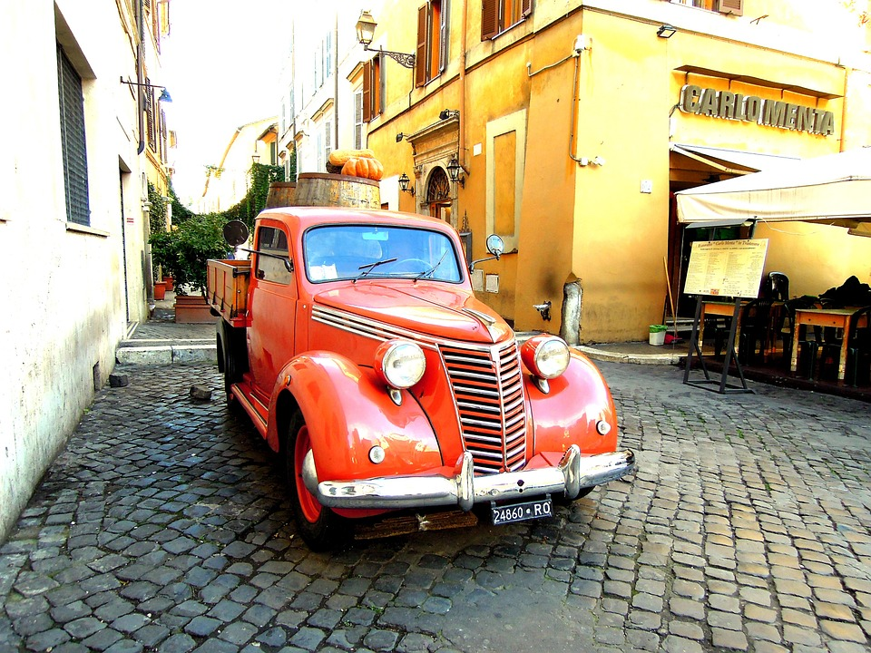 Car, Rome, House, On The Road, Italy, Red, Truck
