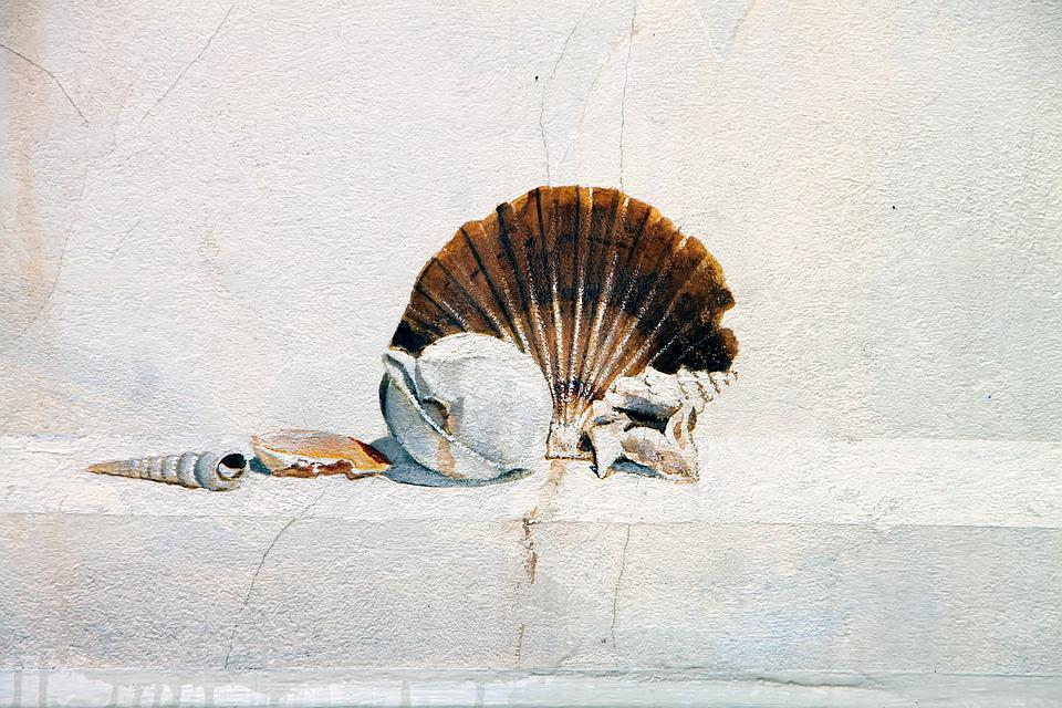 Hauswand, Wall, House, Mural, Shell, Art, Italy
