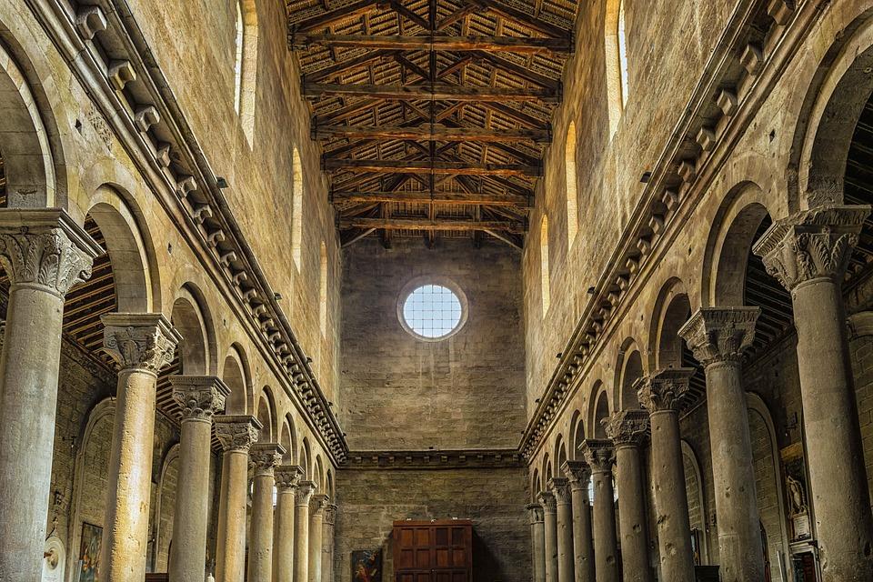 Church, Columnar, Italy, Viterbo, Stone, Wood, Blanket