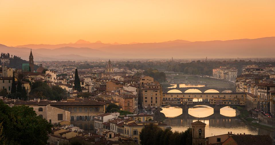 Florence, Italy, Sunset, Tuscany, Europe, Firenze, City