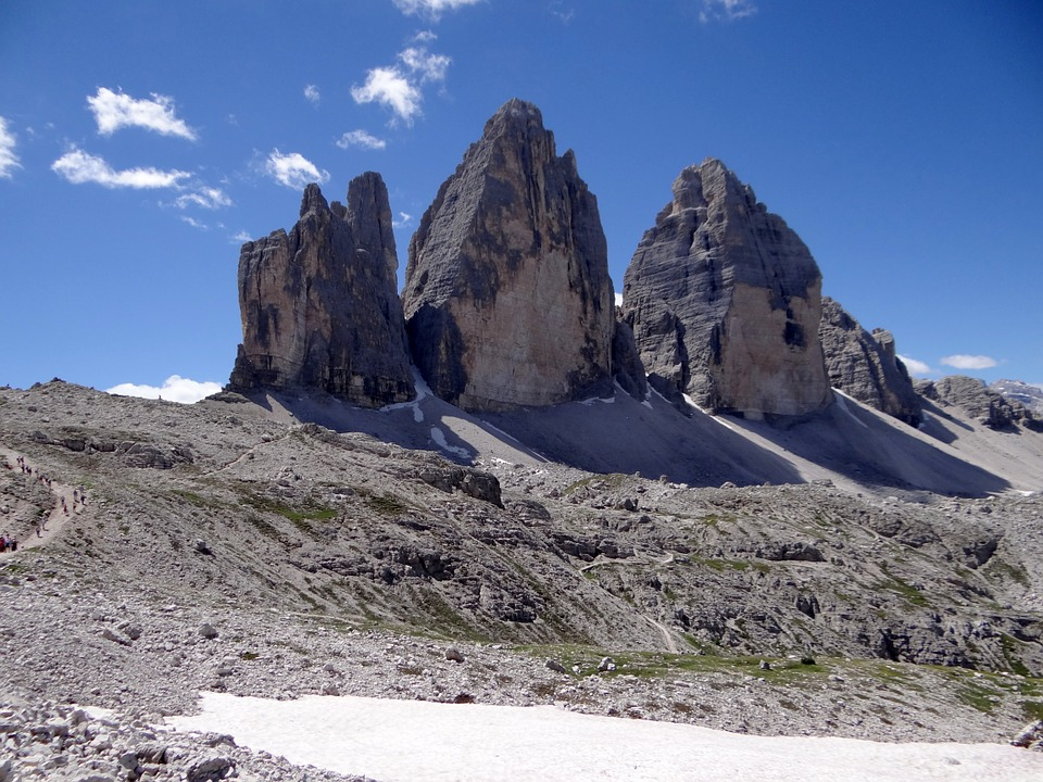 Three Zinnen, Mountains, Alpine, Dolomites, Italy, Rock