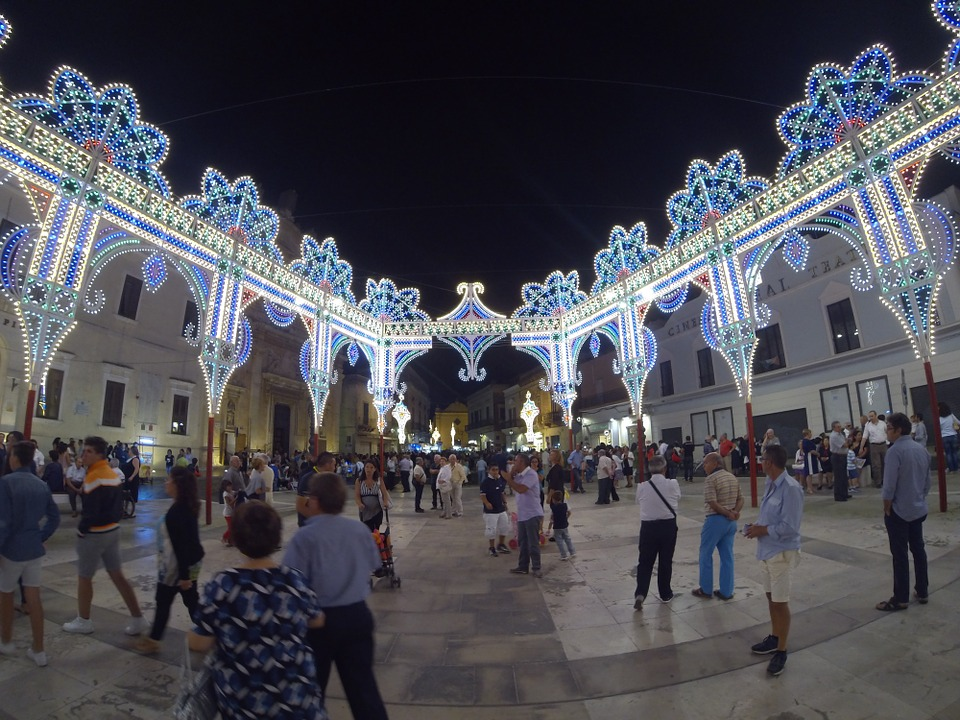 Puglia, Lights, Italy, Town Square, Architecture