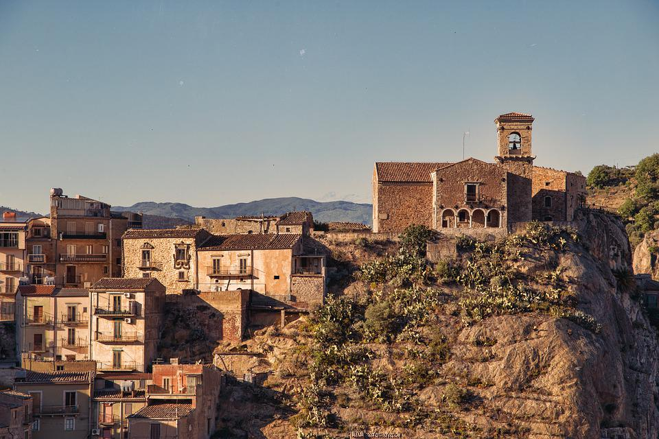 Houses, Town, Village, Buildings, Sicily, Facade, Italy