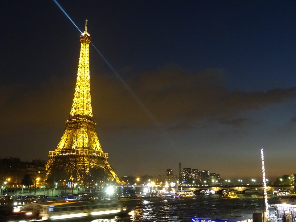 Eiffel Tower, Night, Illuminated, Its, Lights, City