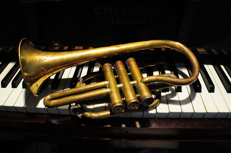 Trumpet, Music, Piano, Keys, Horn, Brass, Ebony, Ivory
