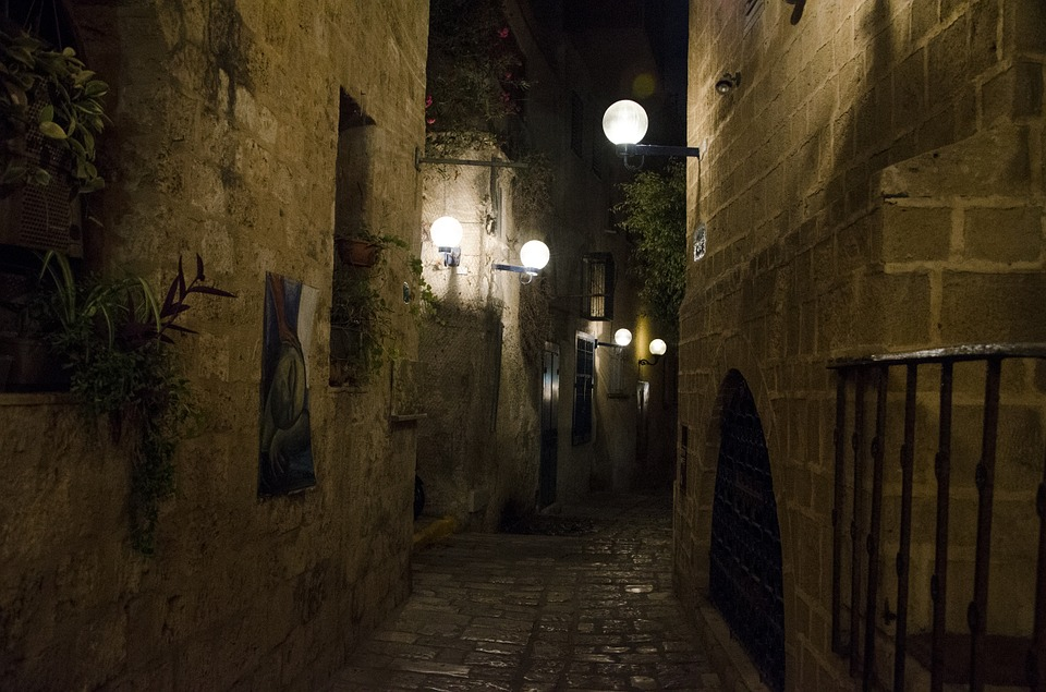 Jaffa, Night, Israel, Architecture, Street, Dark, Alley