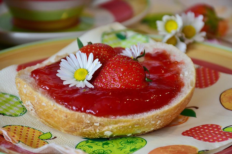 Breakfast, Roll, Have Breakfast, Strawberries, Jam