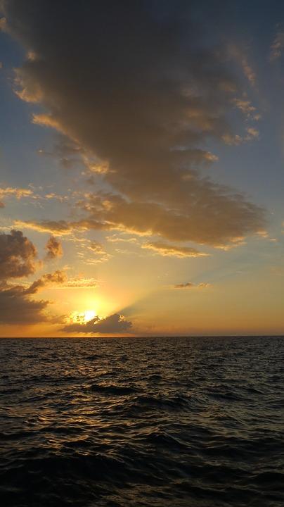Jamaica, Negril, Sunset, Sea, Caribbean, Ocean