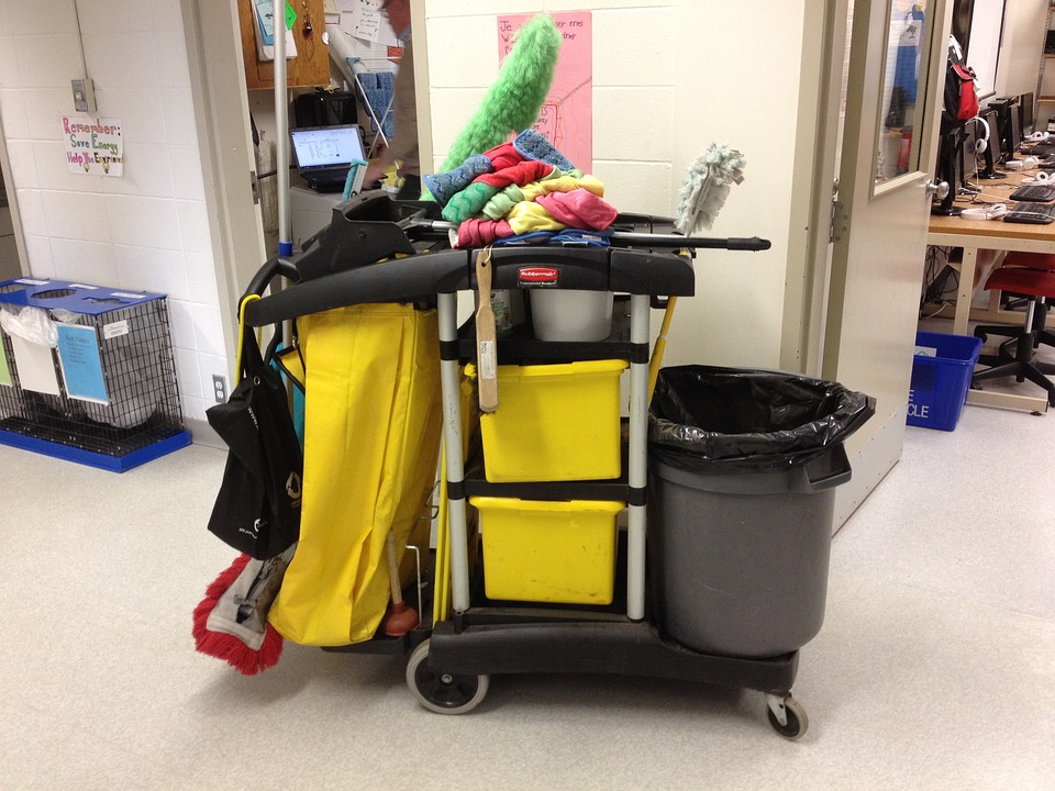 Janitor, Cart, Cleaning, Equipment, Mopping