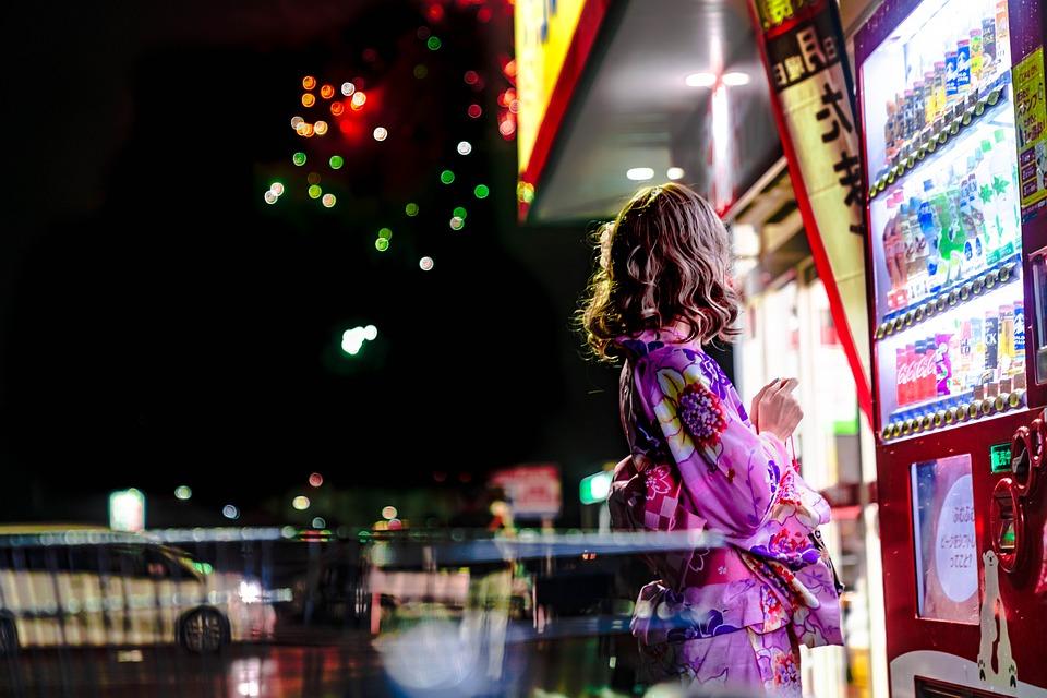 Japan, Vending Machine, Fireworks, Beauty